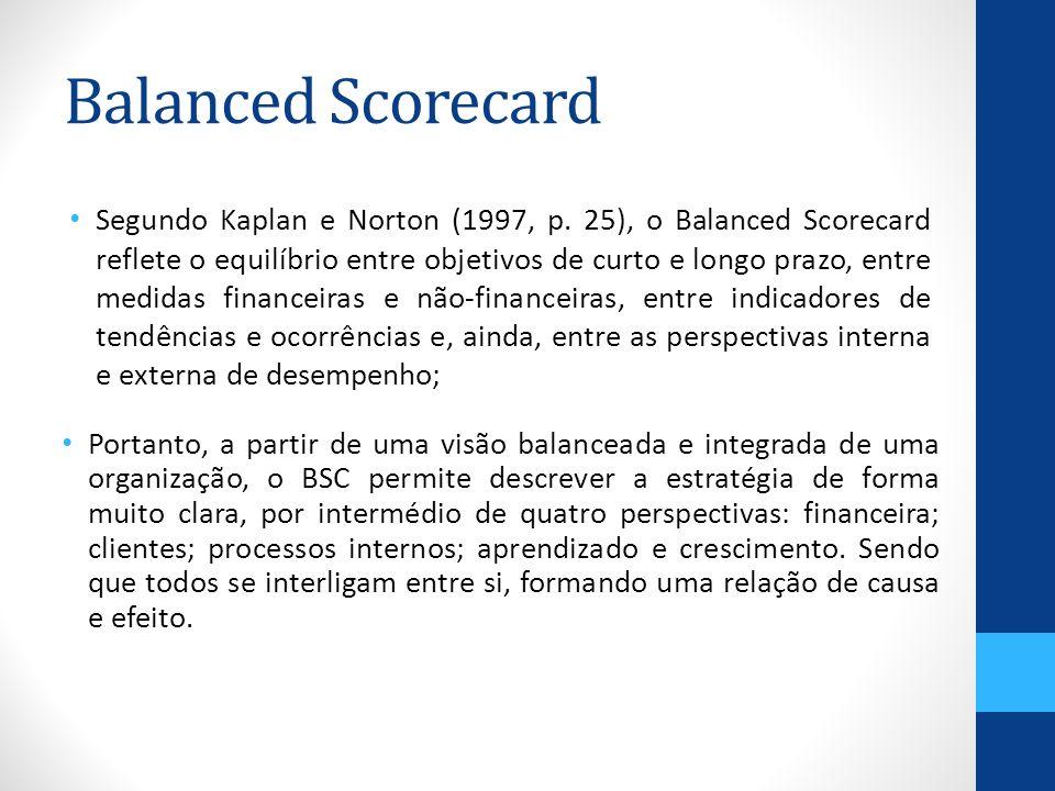 Balanced Scorecard Portanto, a partir de uma visão balanceada e integrada de uma organização, o BSC permite descrever a estratégia de forma muito clara, por intermédio de quatro perspectivas: financeira; clientes; processos internos; aprendizado e crescimento.