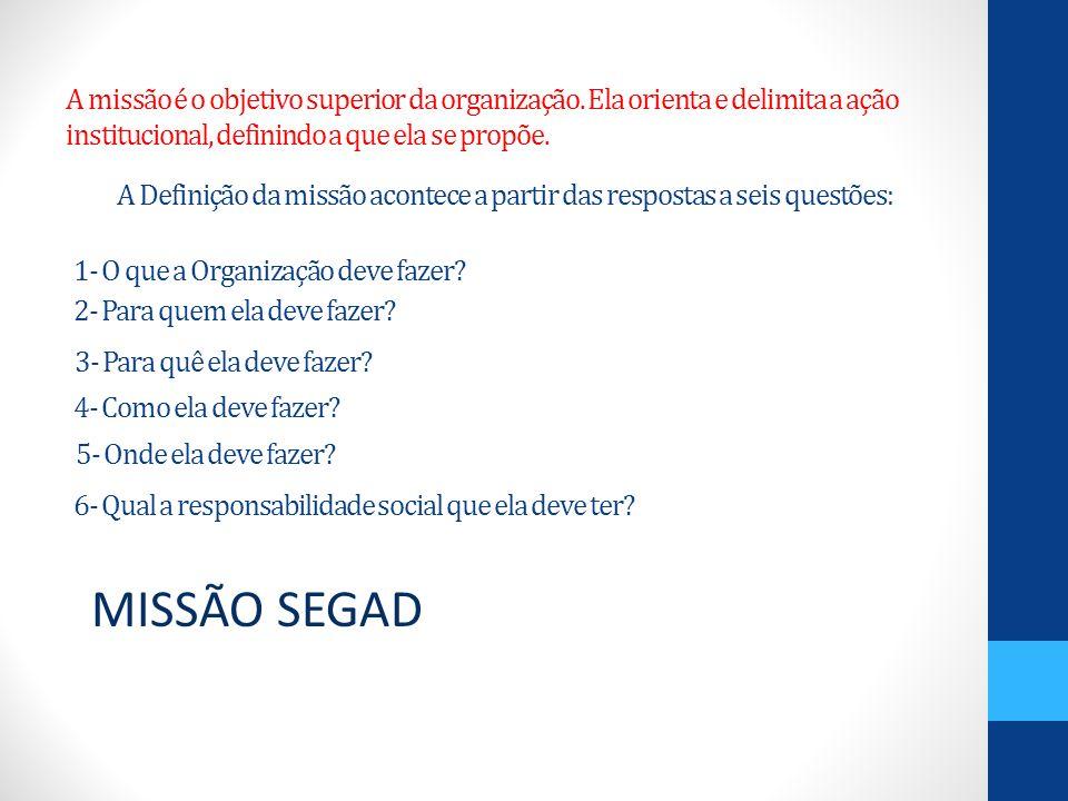 A Definição da missão acontece a partir das respostas a seis questões: MISSÃO SEGAD A missão é o objetivo superior da organização. Ela orienta e delim