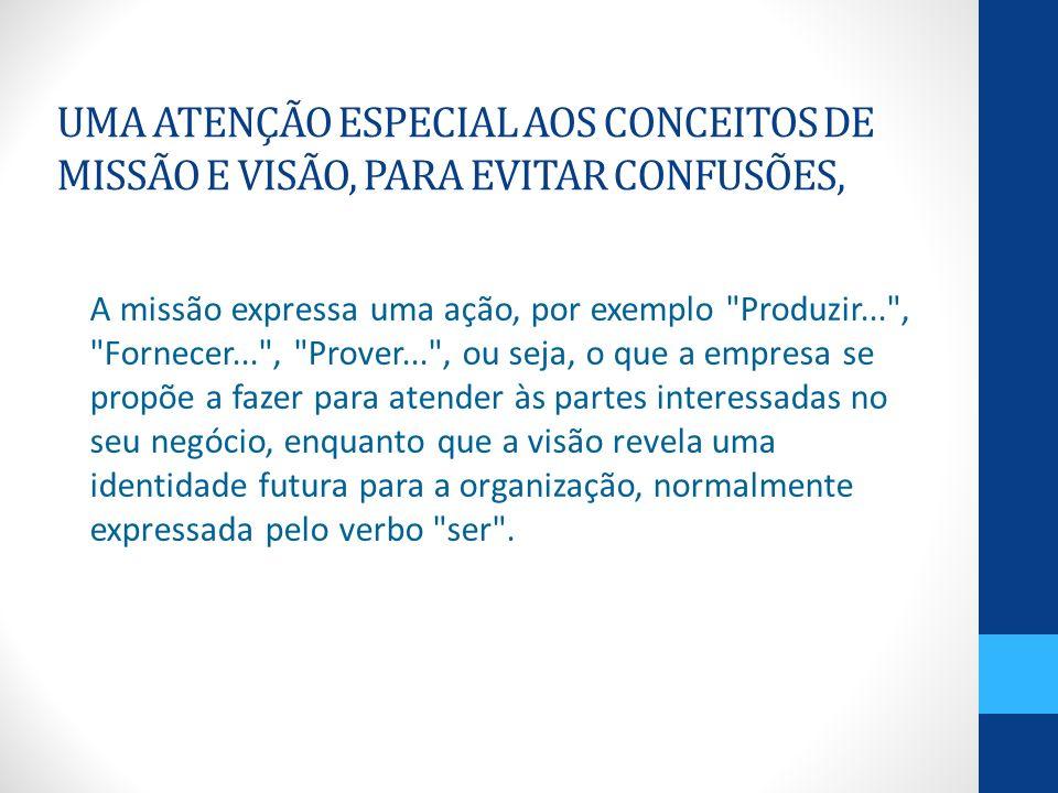 UMA ATENÇÃO ESPECIAL AOS CONCEITOS DE MISSÃO E VISÃO, PARA EVITAR CONFUSÕES, A missão expressa uma ação, por exemplo