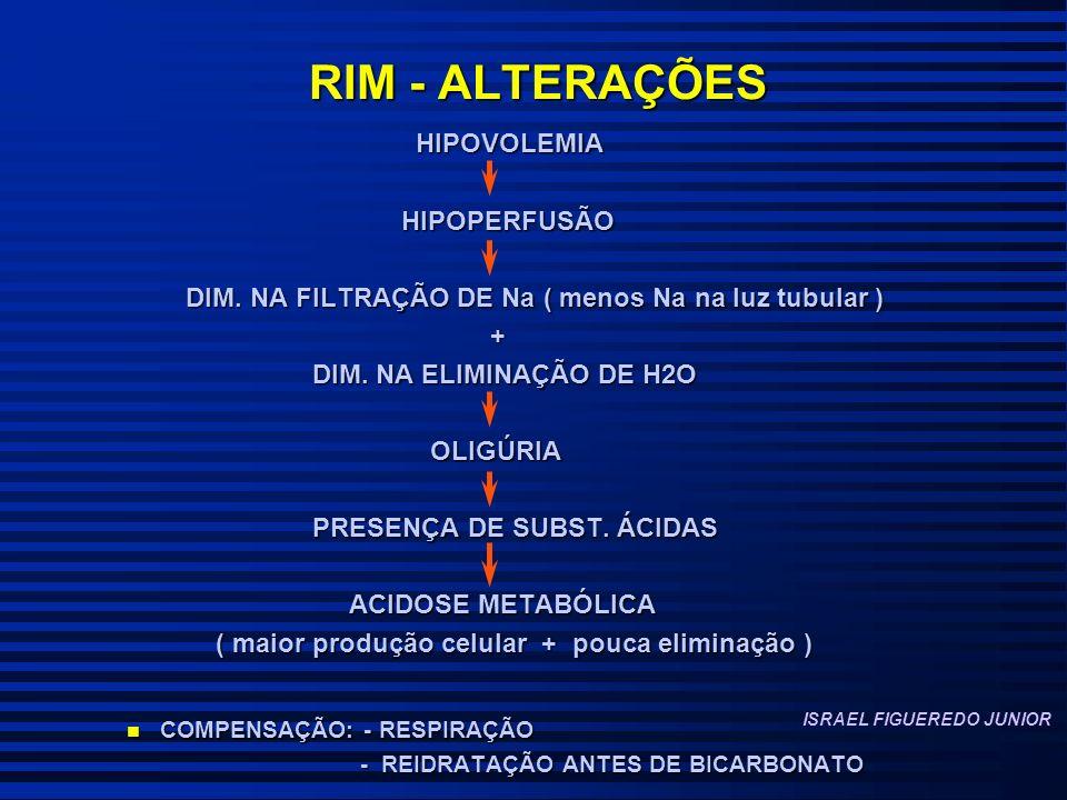 RIM - ALTERAÇÕES HIPOVOLEMIA HIPOVOLEMIA HIPOPERFUSÃO HIPOPERFUSÃO DIM.