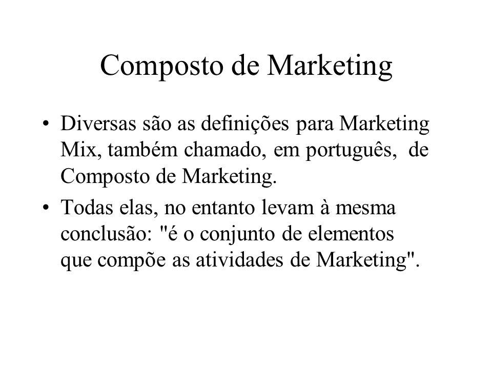 Composto de Marketing Diversas são as definições para Marketing Mix, também chamado, em português, de Composto de Marketing.