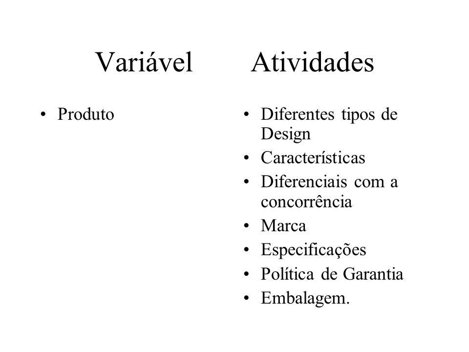 Variável Atividades ProdutoDiferentes tipos de Design Características Diferenciais com a concorrência Marca Especificações Política de Garantia Embalagem.