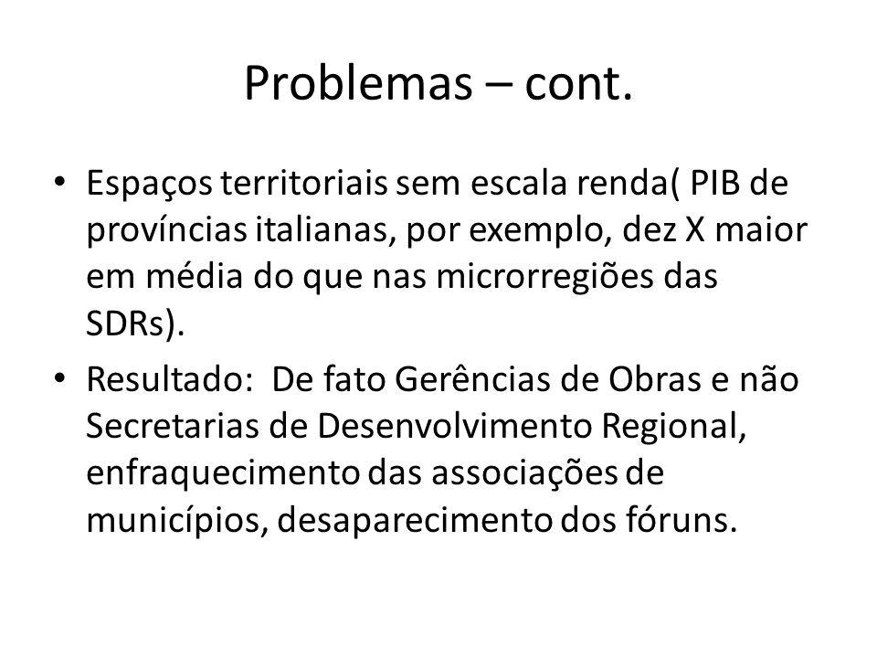 Problemas – cont. Espaços territoriais sem escala renda( PIB de províncias italianas, por exemplo, dez X maior em média do que nas microrregiões das S