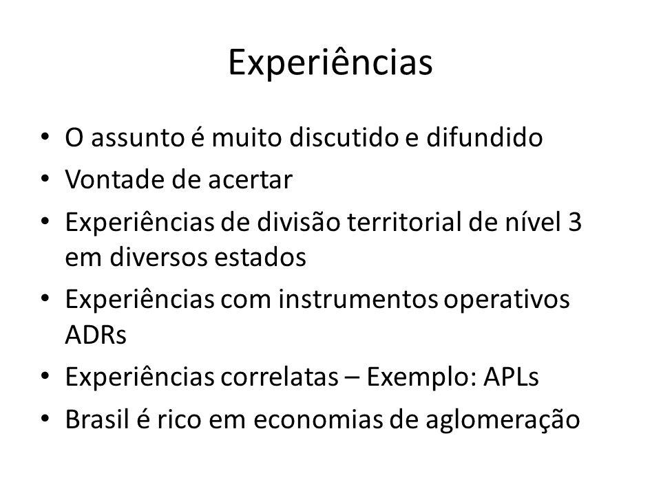 Experiências O assunto é muito discutido e difundido Vontade de acertar Experiências de divisão territorial de nível 3 em diversos estados Experiência