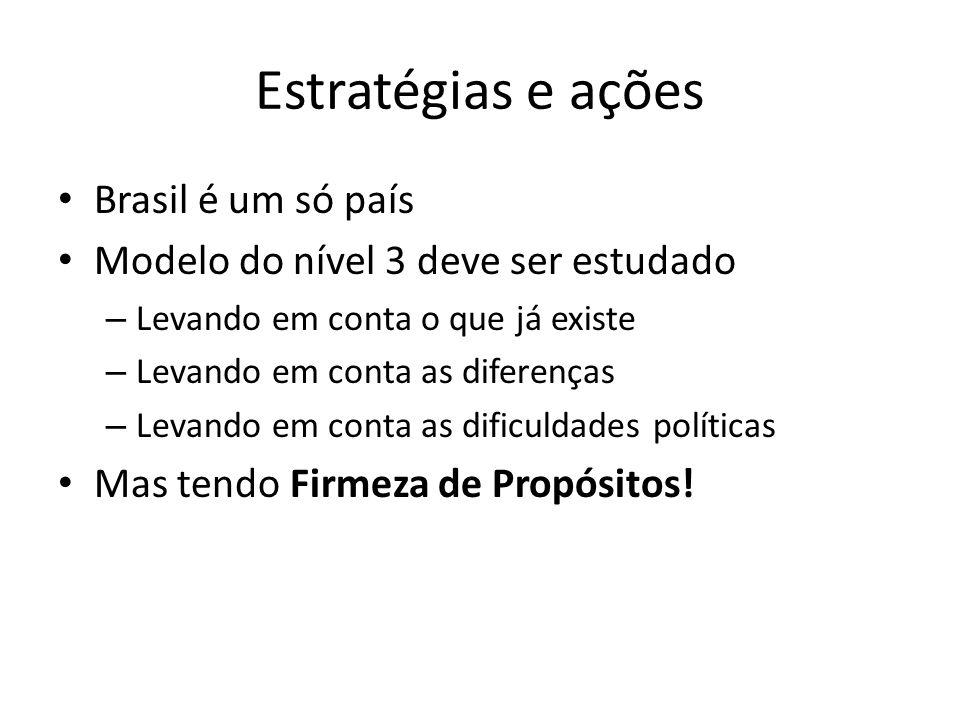 Estratégias e ações Brasil é um só país Modelo do nível 3 deve ser estudado – Levando em conta o que já existe – Levando em conta as diferenças – Leva