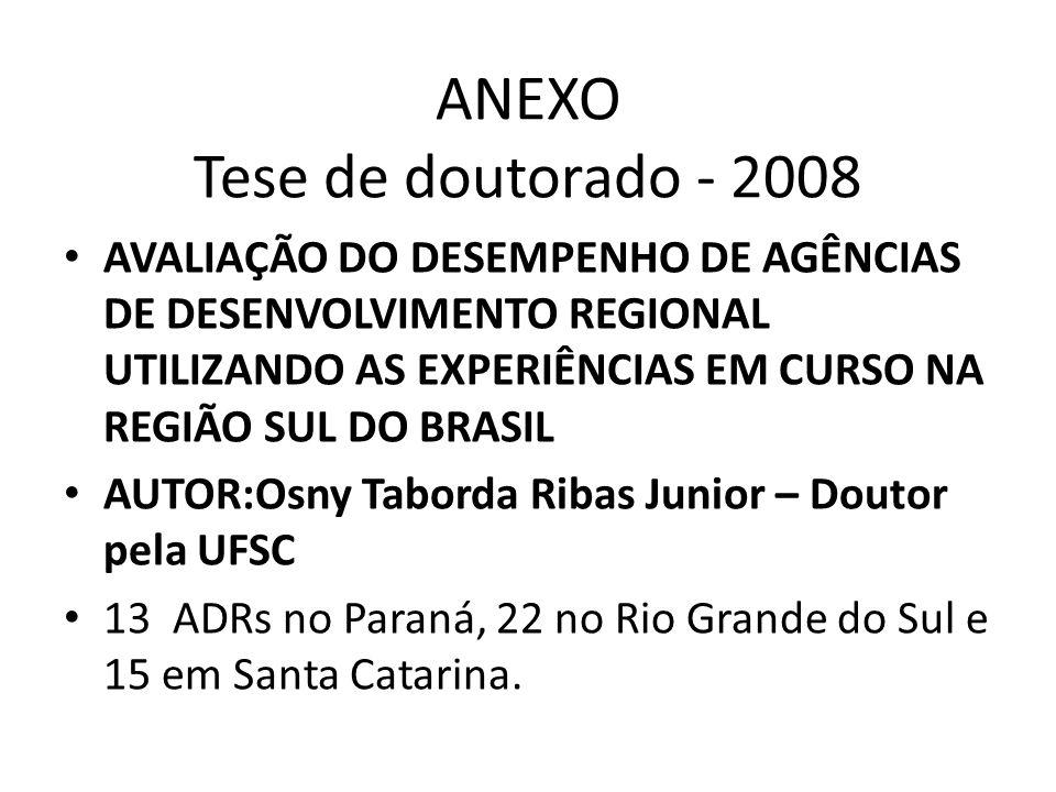 ANEXO Tese de doutorado - 2008 AVALIAÇÃO DO DESEMPENHO DE AGÊNCIAS DE DESENVOLVIMENTO REGIONAL UTILIZANDO AS EXPERIÊNCIAS EM CURSO NA REGIÃO SUL DO BR