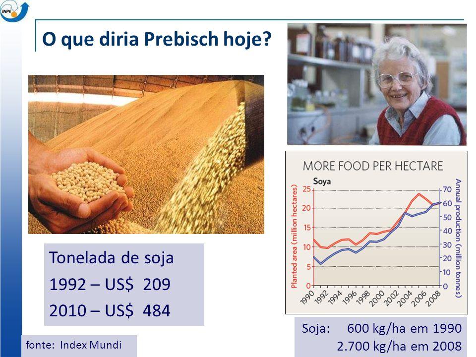 O que diria Prebisch hoje? Tonelada de soja 1992 – US$ 209 2010 – US$ 484 fonte: Index Mundi Soja: 600 kg/ha em 1990 2.700 kg/ha em 2008