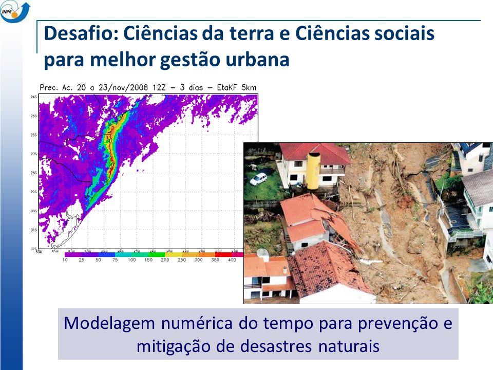 Desafio: Ciências da terra e Ciências sociais para melhor gestão urbana Modelagem numérica do tempo para prevenção e mitigação de desastres naturais