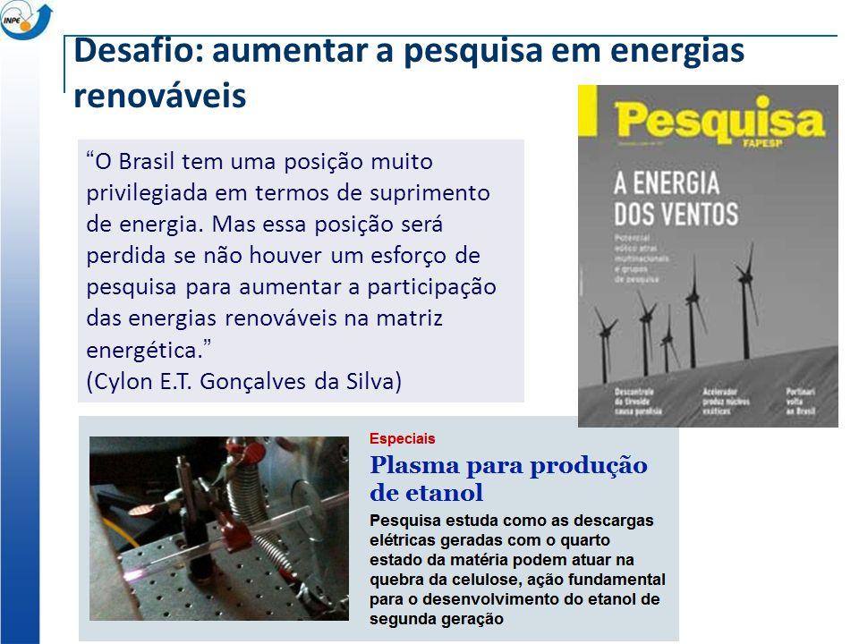 Desafio: aumentar a pesquisa em energias renováveis O Brasil tem uma posição muito privilegiada em termos de suprimento de energia. Mas essa posição s