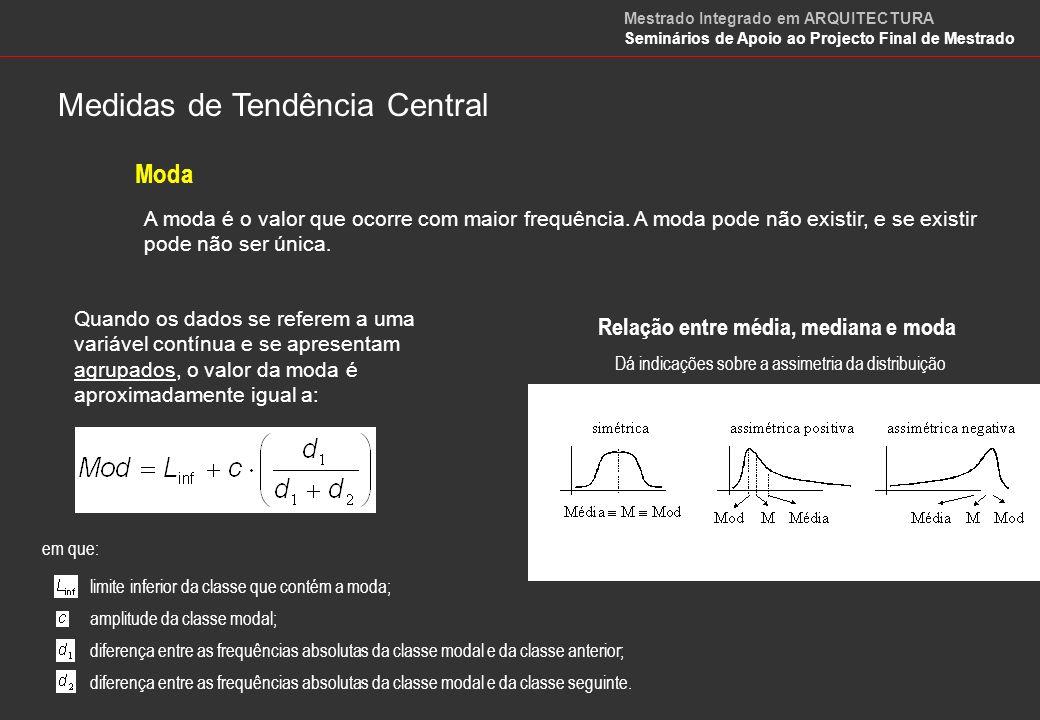 Média Geométrica Média Harmónica Medidas de Tendência Central Mestrado Integrado em ARQUITECTURA Seminários de Apoio ao Projecto Final de Mestrado