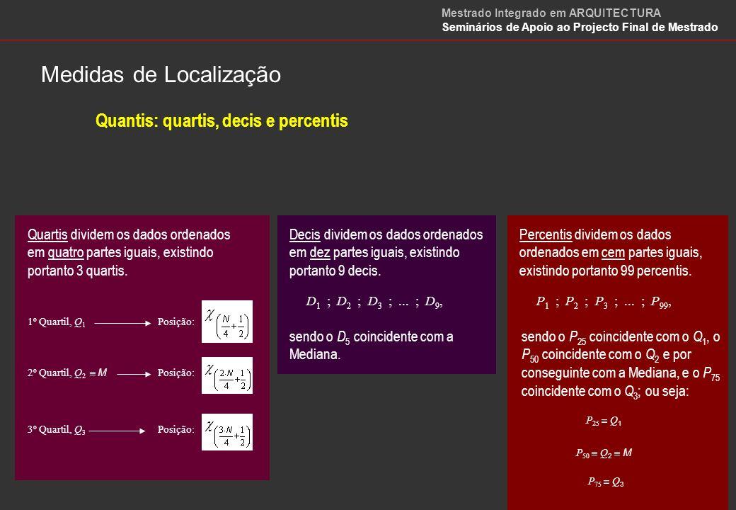 Quantis: quartis, decis e percentis Quando os dados se referem a uma variável contínua e se apresentam agrupados, os valores dos quantis podem ser aproximados por expressões idênticas à da mediana, com as devidas adaptações.