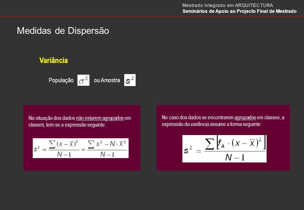 Desvio Padrão Populaçãoou Amostra Esta medida de dispersão pode interpretar-se como sendo o valor absoluto de um desvio típico (padrão) dos dados em relação à média.