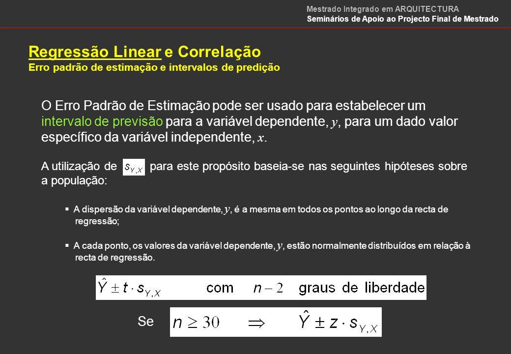 Regressão Linear Modelos Não Lineares, mas Linearizáveis Modelo Exponencial Linearizável Modelo Potência Linearizável Mestrado Integrado em ARQUITECTURA Seminários de Apoio ao Projecto Final de Mestrado