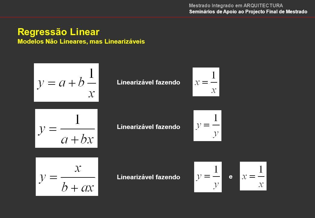 Regressão Linear e Correlação OBJECTIVO: Medir o grau de relação (co-relacionamento) entre as variáveis dependente, y, e independente, x.