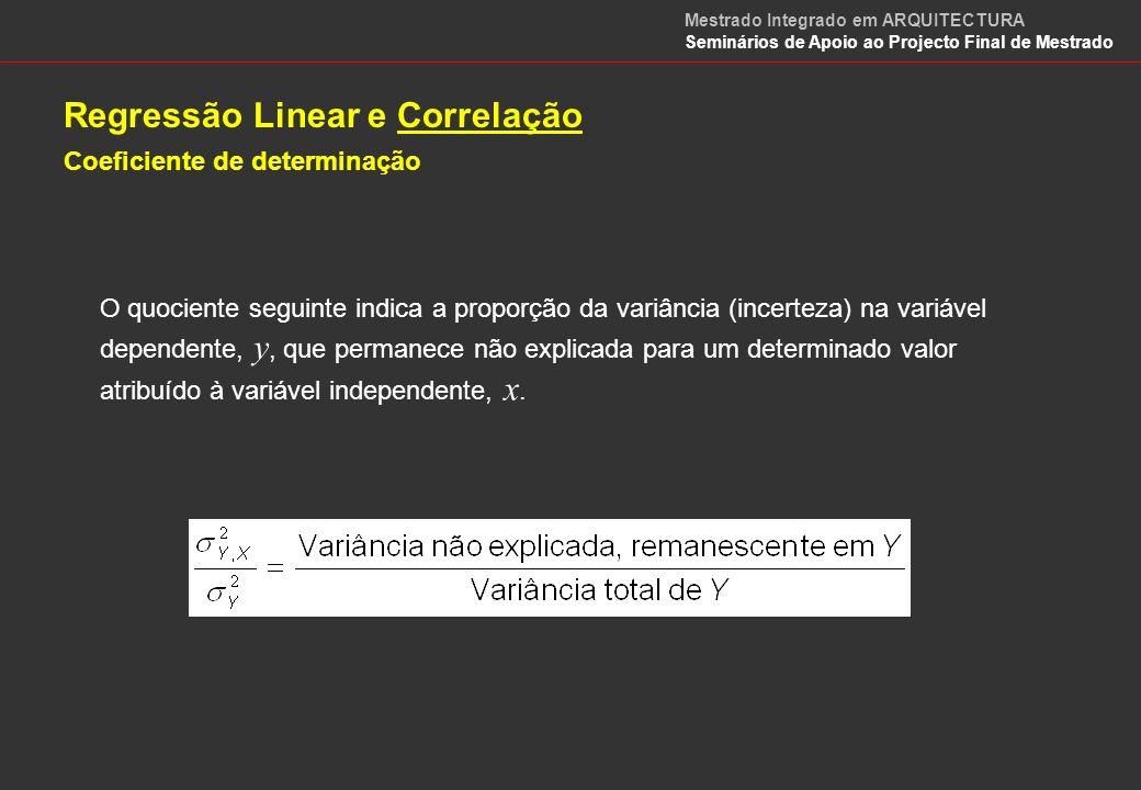 Regressão Linear e Correlação Coeficiente de determinação COEFICIENTE DE DETERMINAÇÃO, 2 : Estes quocientes indicam a proporção da variância na variável dependente, y, que é estatisticamente explicada pela recta de regressão, calculando-se na prática por: Assim, como este coeficiente varia entre 0 e 1, obtém-se a percentagem de variação numa variável que é explicada estatisticamente pela variação na outra variável.