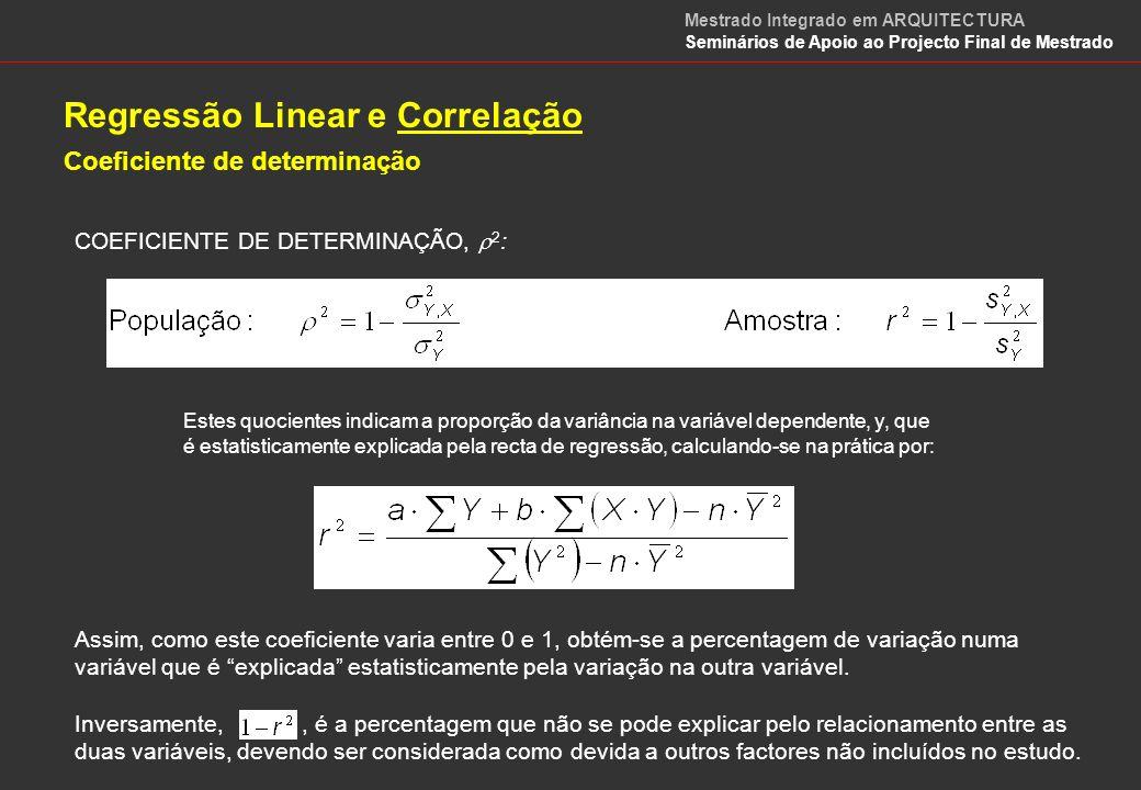 Regressão Linear e Correlação Coeficiente de correlação Este coeficiente pode ser testado estatisticamente, pois está incluído numa estatística de teste que é distribuída segundo uma distribuição t-Student, quando a correlação populacional é igual a 0 (zero).