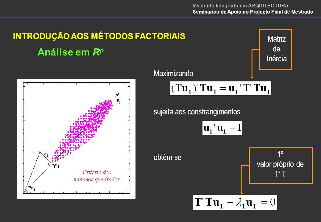 INTRODUÇÃO AOS MÉTODOS FACTORIAIS Análise em R p Maximizando Matriz de Inércia sujeita aos constrangimentos obtém-se 2º valor próprio de T Mestrado Integrado em ARQUITECTURA Seminários de Apoio ao Projecto Final de Mestrado