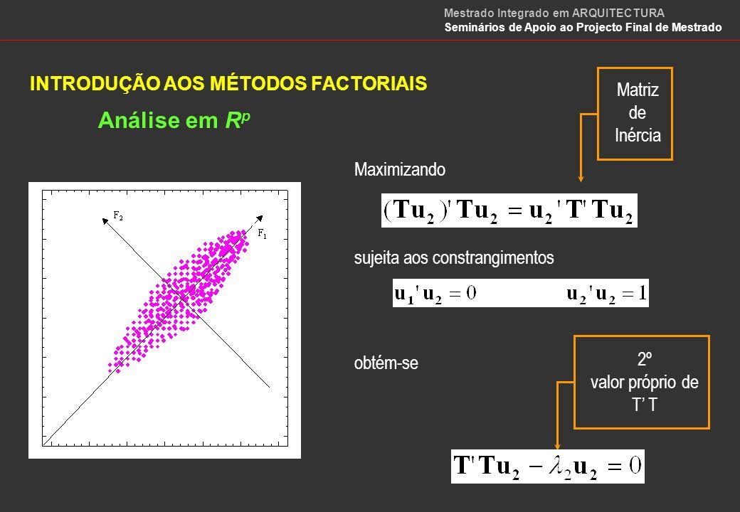 INTRODUÇÃO AOS MÉTODOS FACTORIAIS Análise em R p No caso geral os p eixos factoriais obtêm-se resolvendo a equação matricial: Vectores Próprios de T T Valores Próprios de T T Mestrado Integrado em ARQUITECTURA Seminários de Apoio ao Projecto Final de Mestrado