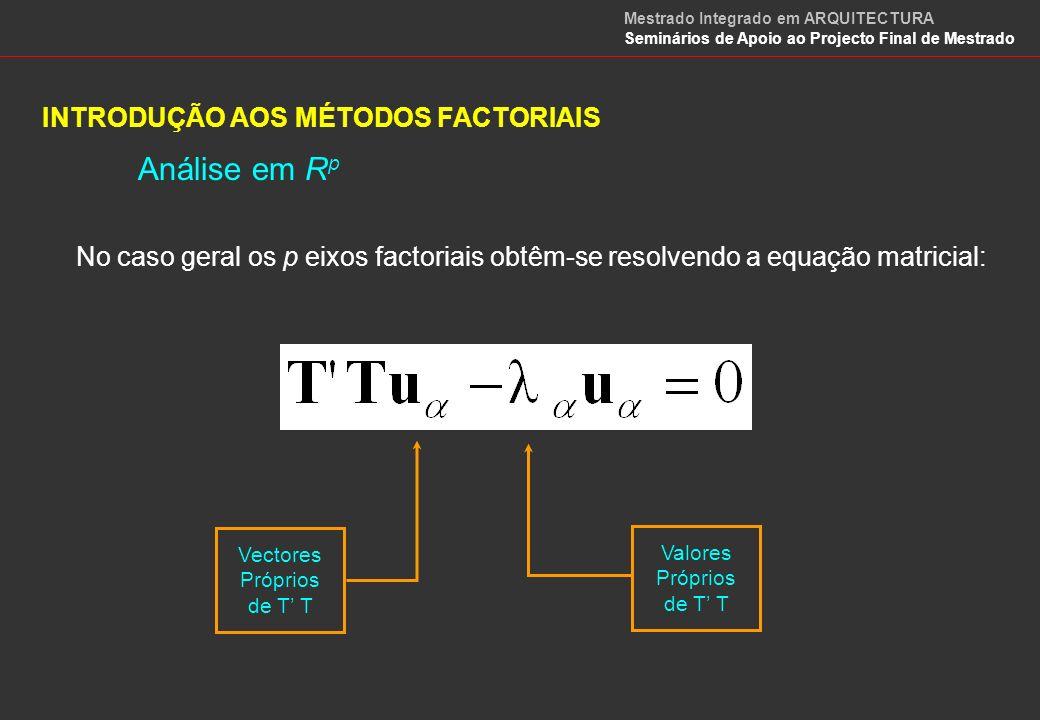 INTRODUÇÃO AOS MÉTODOS FACTORIAIS Análise em R n No caso da análise da nuvem em R n os eixos factoriais obtêm-se resolvendo a equação factorial seguinte: FÓRMULAS DE TRANSIÇÃO Vectores Próprios de T T Valores Próprios de T T Mestrado Integrado em ARQUITECTURA Seminários de Apoio ao Projecto Final de Mestrado