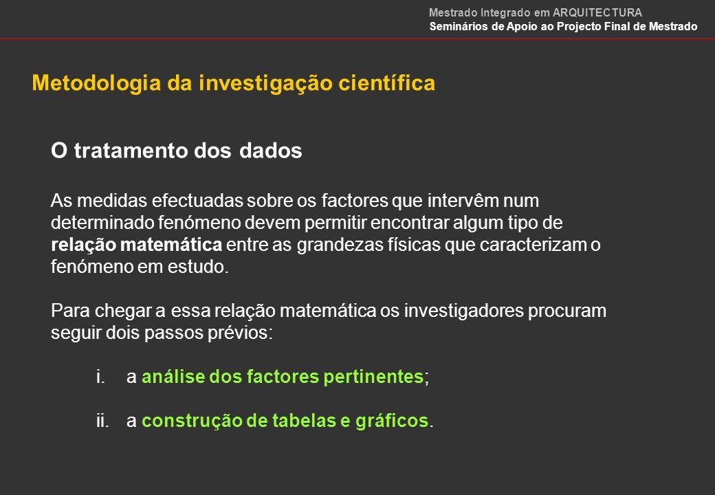 O tratamento dos dados 1.Análise dos factores (análise de sensibilidade) O estudo em profundidade de um fenómeno requer, em primeiro lugar, a determinação de todos os factores intervenientes.