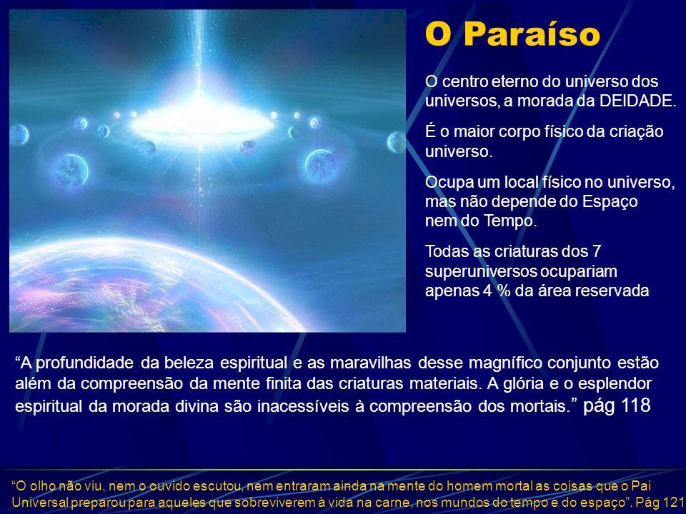 O Paraíso O centro eterno do universo dos universos, a morada da DEIDADE. É o maior corpo físico da criação universo. Ocupa um local físico no univers
