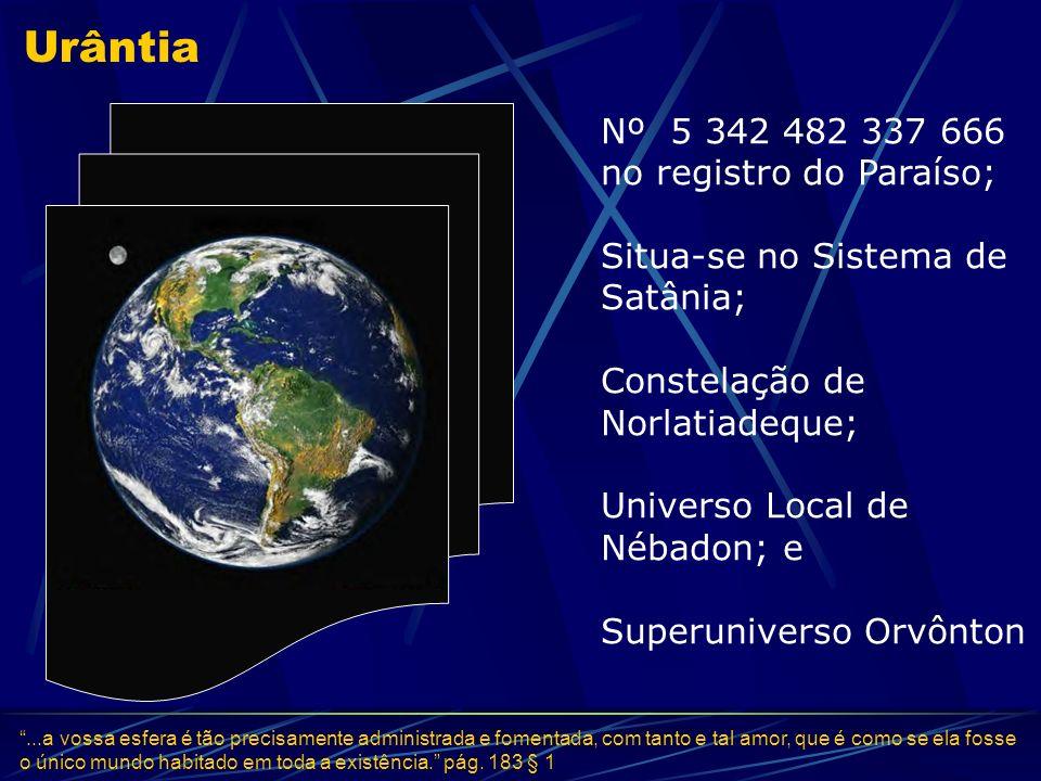 Urântia Nº 5 342 482 337 666 no registro do Paraíso; Situa-se no Sistema de Satânia; Constelação de Norlatiadeque; Universo Local de Nébadon; e Superu