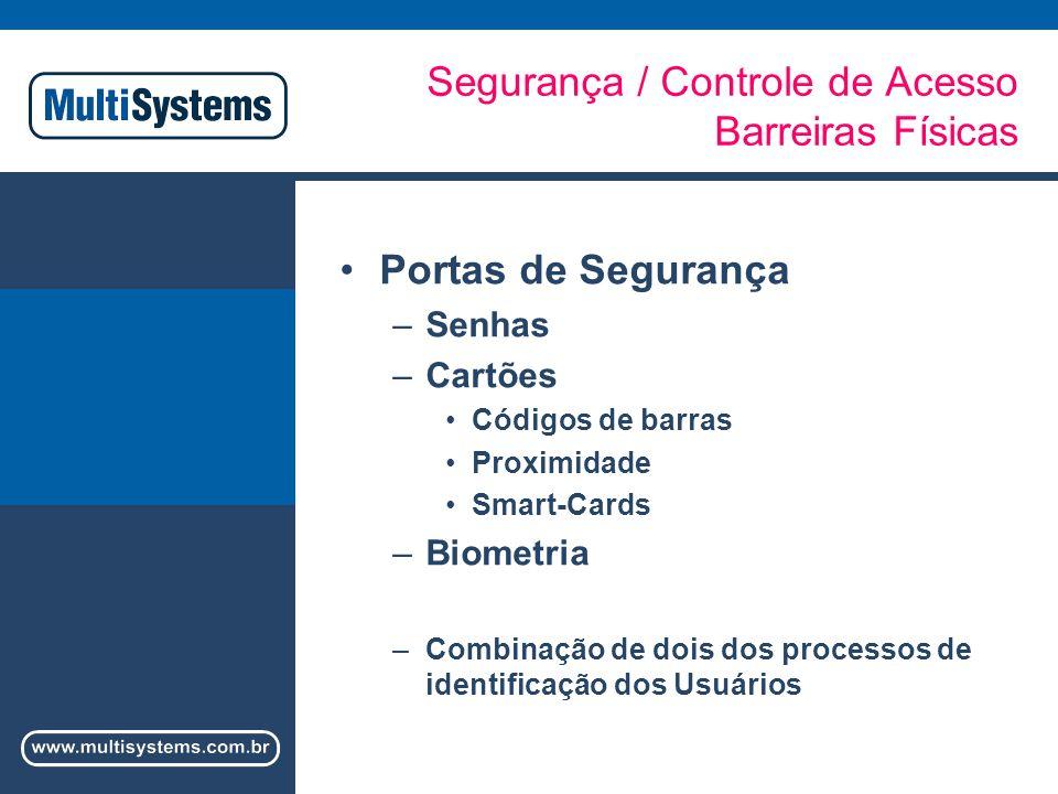 Segurança / Controle de Acesso Barreiras Físicas Portas de Segurança –Senhas –Cartões Códigos de barras Proximidade Smart-Cards –Biometria –Combinação de dois dos processos de identificação dos Usuários