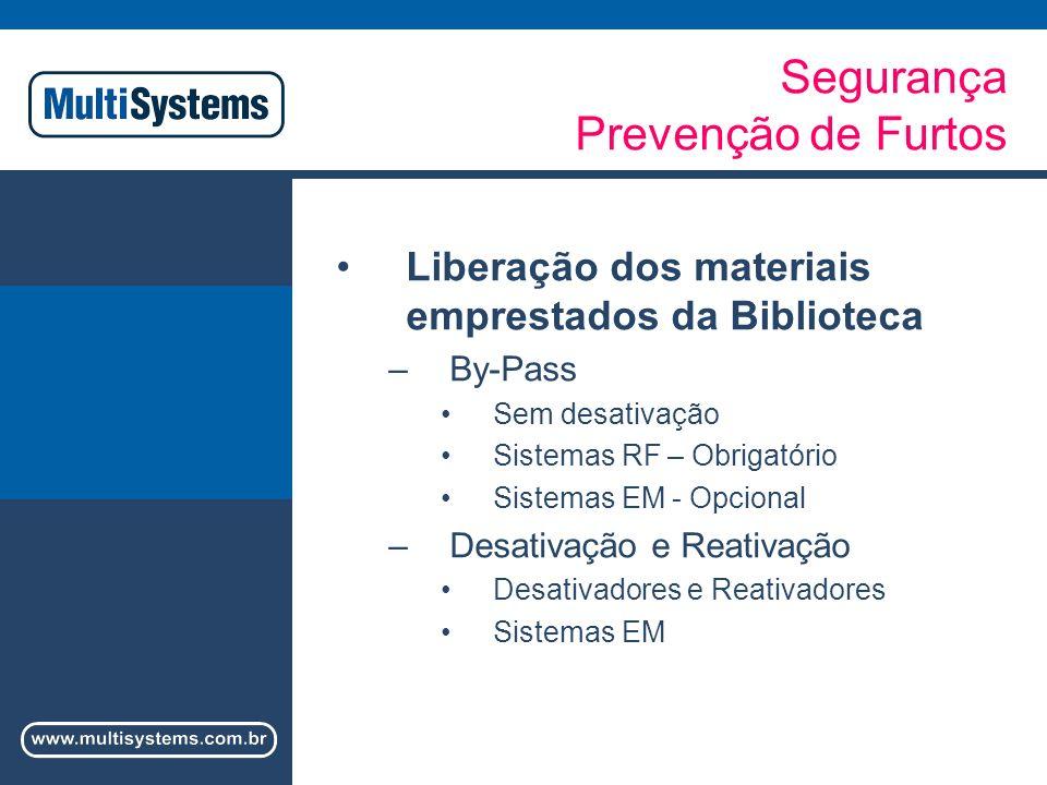 Segurança Prevenção de Furtos Liberação dos materiais emprestados da Biblioteca –By-Pass Sem desativação Sistemas RF – Obrigatório Sistemas EM - Opcional –Desativação e Reativação Desativadores e Reativadores Sistemas EM
