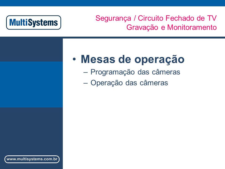 Segurança / Circuito Fechado de TV Gravação e Monitoramento Mesas de operação –Programação das câmeras –Operação das câmeras