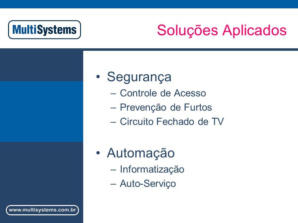 Soluções Aplicados Segurança –Controle de Acesso –Prevenção de Furtos –Circuito Fechado de TV Automação –Informatização –Auto-Serviço