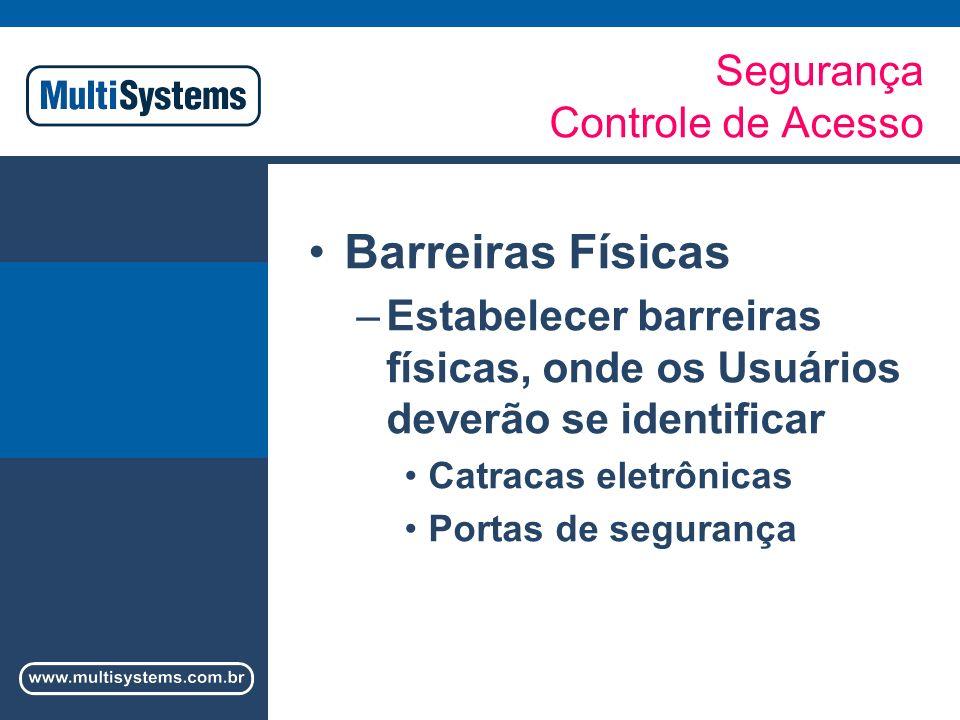 Segurança / Controle de Acesso Barreiras Físicas Catracas Eletrônicas –Senhas –Cartões Códigos de barras Proximidade Smart-Cards –Biometria –Combinação de dois dos processos de identificação dos Usuários