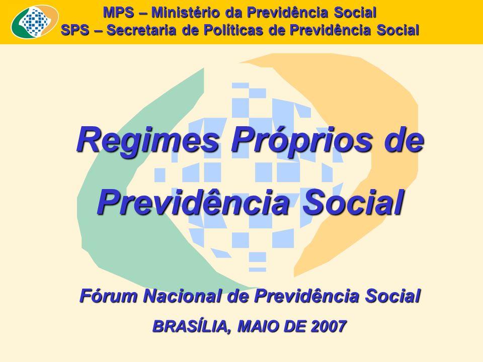 MPS – Ministério da Previdência Social SPS – Secretaria de Políticas de Previdência Social Regimes Próprios de Previdência Social Fórum Nacional de Pr