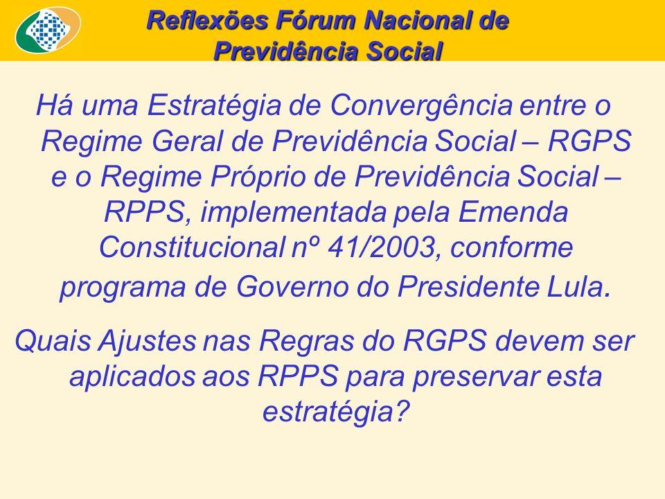 Reflexões Fórum Nacional de Previdência Social Há uma Estratégia de Convergência entre o Regime Geral de Previdência Social – RGPS e o Regime Próprio