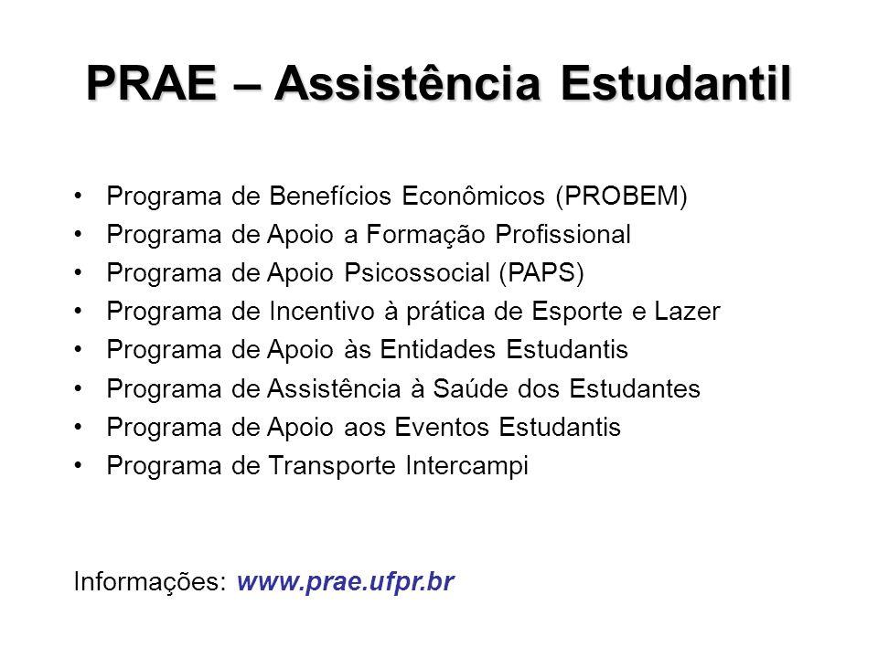 PRAE – Assistência Estudantil Programa de Benefícios Econômicos (PROBEM) Programa de Apoio a Formação Profissional Programa de Apoio Psicossocial (PAP