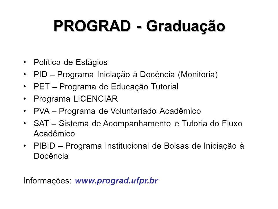 PROGRAD - Graduação Política de Estágios PID – Programa Iniciação à Docência (Monitoria) PET – Programa de Educação Tutorial Programa LICENCIAR PVA –