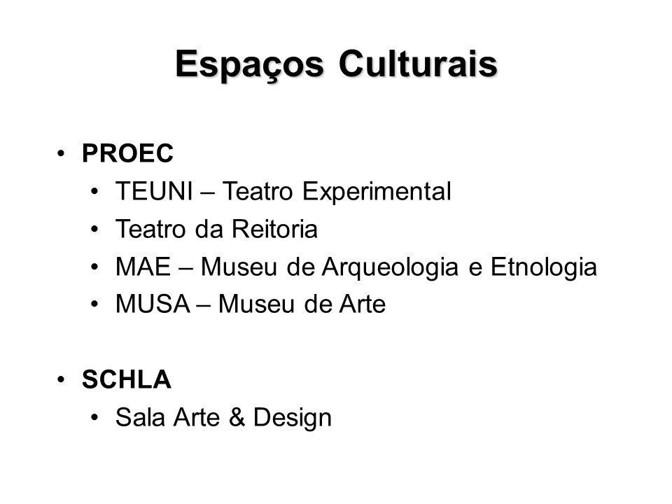 Espaços Culturais PROEC TEUNI – Teatro Experimental Teatro da Reitoria MAE – Museu de Arqueologia e Etnologia MUSA – Museu de Arte SCHLA Sala Arte & D