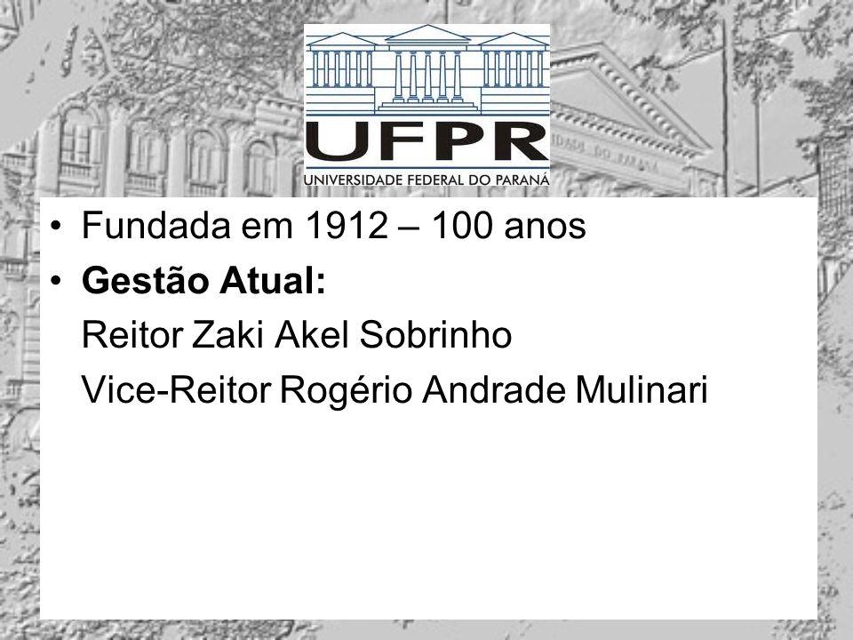 Fundada em 1912 – 100 anos Gestão Atual: Reitor Zaki Akel Sobrinho Vice-Reitor Rogério Andrade Mulinari