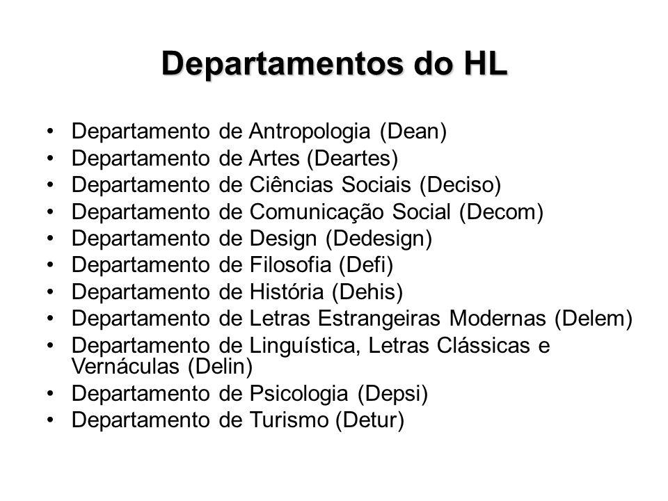 Departamentos do HL Departamento de Antropologia (Dean) Departamento de Artes (Deartes) Departamento de Ciências Sociais (Deciso) Departamento de Comu