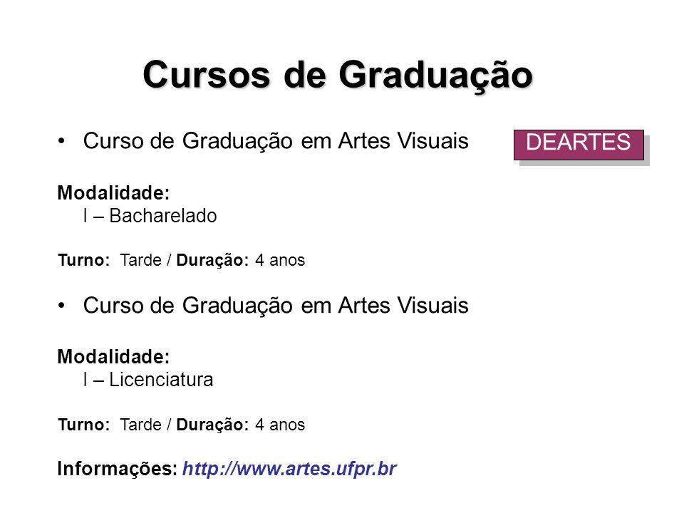 Curso de Graduação em Artes Visuais Modalidade: I – Bacharelado Turno: Tarde / Duração: 4 anos Curso de Graduação em Artes Visuais Modalidade: I – Lic