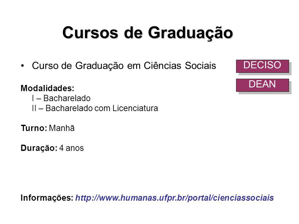 Cursos de Graduação Curso de Graduação em Ciências Sociais Modalidades: I – Bacharelado II – Bacharelado com Licenciatura Turno: Manhã Duração: 4 anos