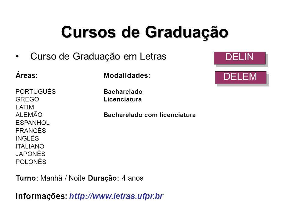 Curso de Graduação em Letras Áreas:Modalidades: PORTUGUÊSBacharelado GREGOLicenciatura LATIM ALEMÃOBacharelado com licenciatura ESPANHOL FRANCÊS INGLÊ
