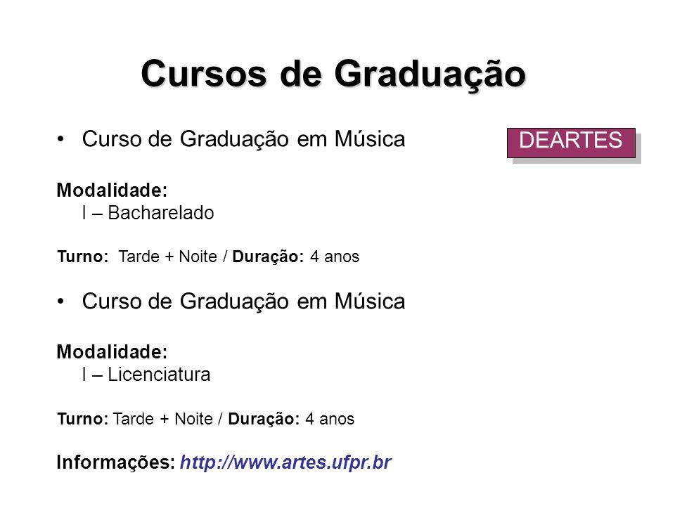 Curso de Graduação em Música Modalidade: I – Bacharelado Turno: Tarde + Noite / Duração: 4 anos Curso de Graduação em Música Modalidade: I – Licenciat