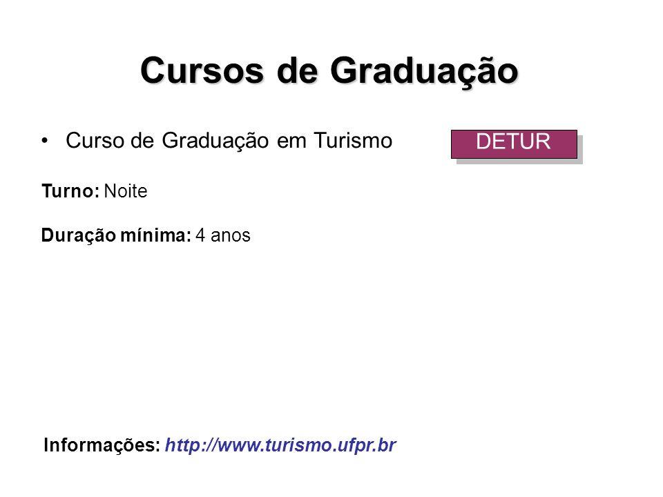 Curso de Graduação em Turismo Turno: Noite Duração mínima: 4 anos DETUR Informações: http://www.turismo.ufpr.br Cursos de Graduação