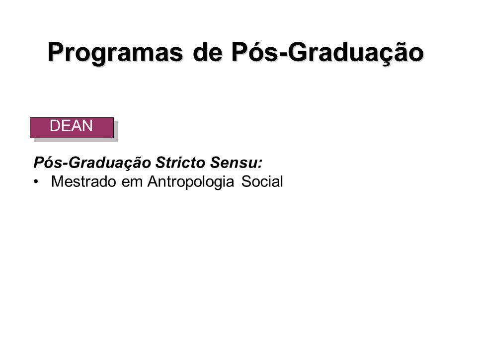 Programas de Pós-Graduação Pós-Graduação Stricto Sensu: Mestrado em Antropologia Social DEAN