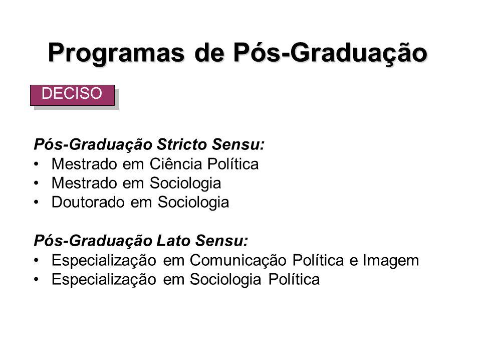 Programas de Pós-Graduação Pós-Graduação Stricto Sensu: Mestrado em Ciência Política Mestrado em Sociologia Doutorado em Sociologia Pós-Graduação Lato