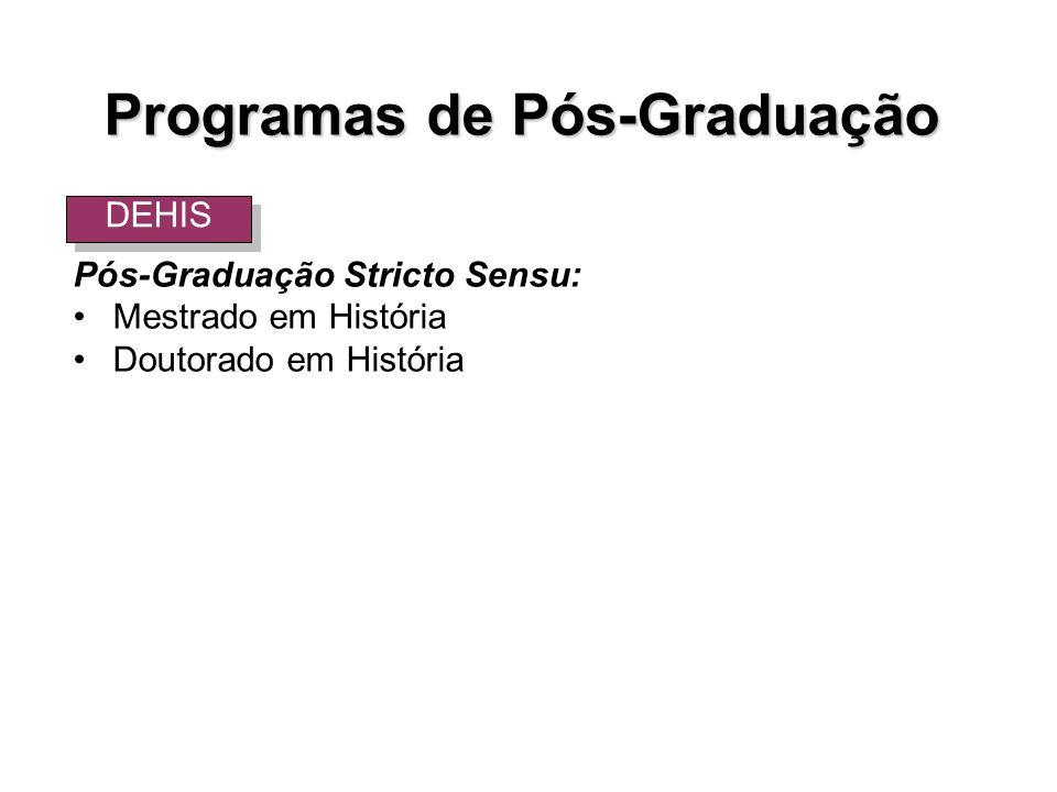 Pós-Graduação Stricto Sensu: Mestrado em História Doutorado em História DEHIS Programas de Pós-Graduação