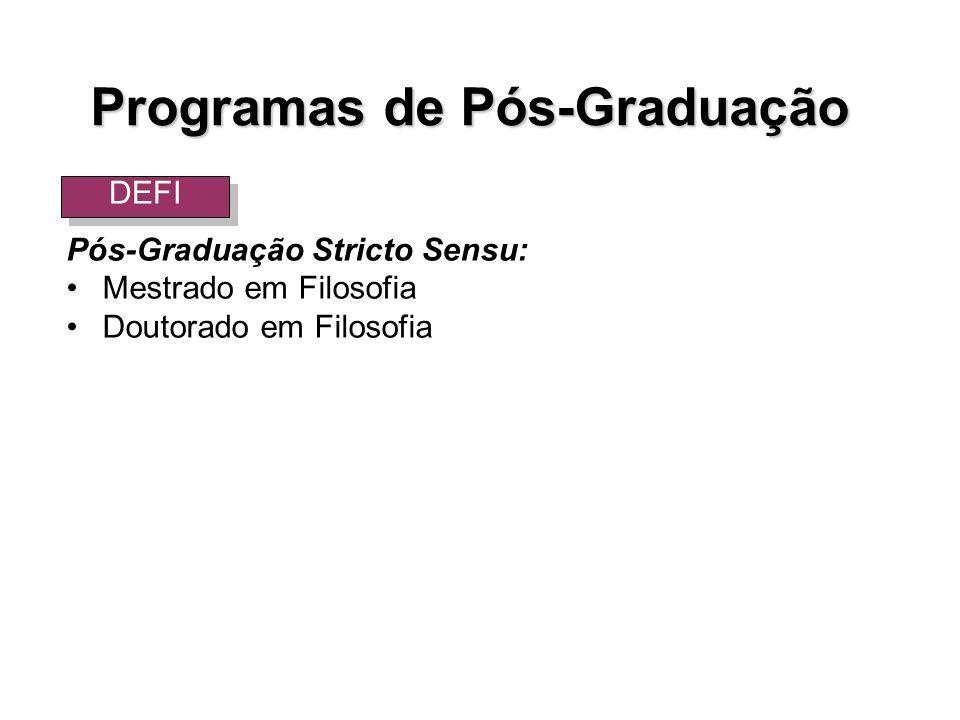Pós-Graduação Stricto Sensu: Mestrado em Filosofia Doutorado em Filosofia DEFI Programas de Pós-Graduação