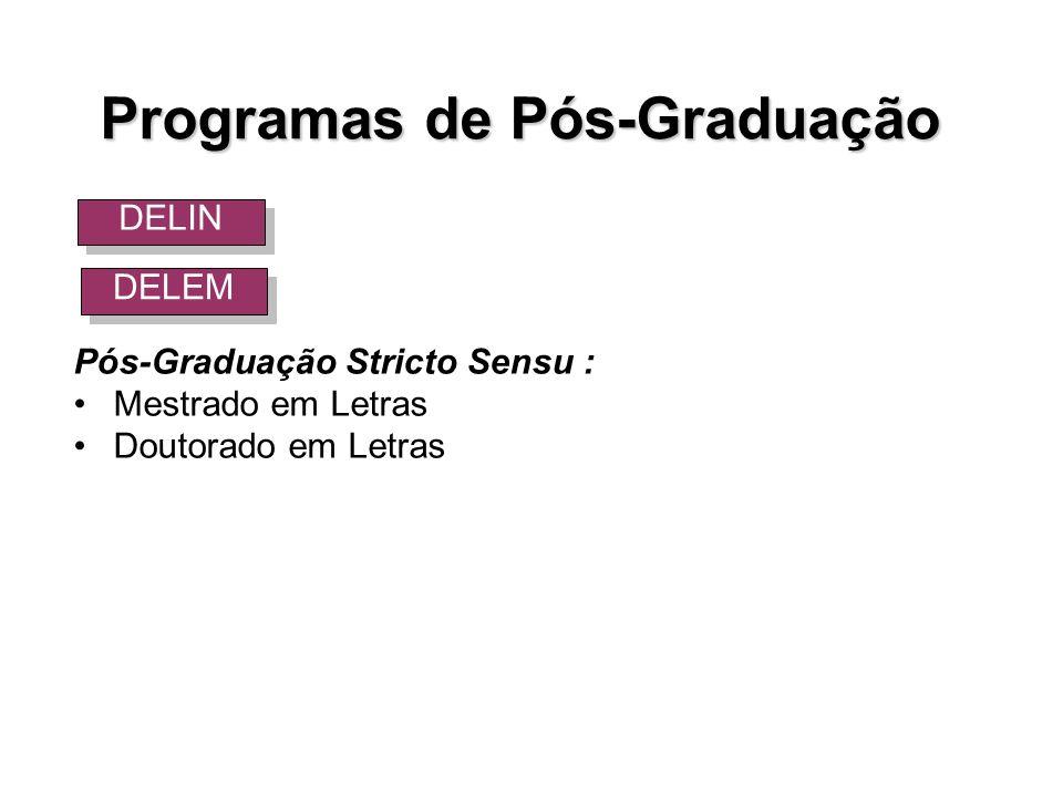 Pós-Graduação Stricto Sensu : Mestrado em Letras Doutorado em Letras Programas de Pós-Graduação DELIN DELEM