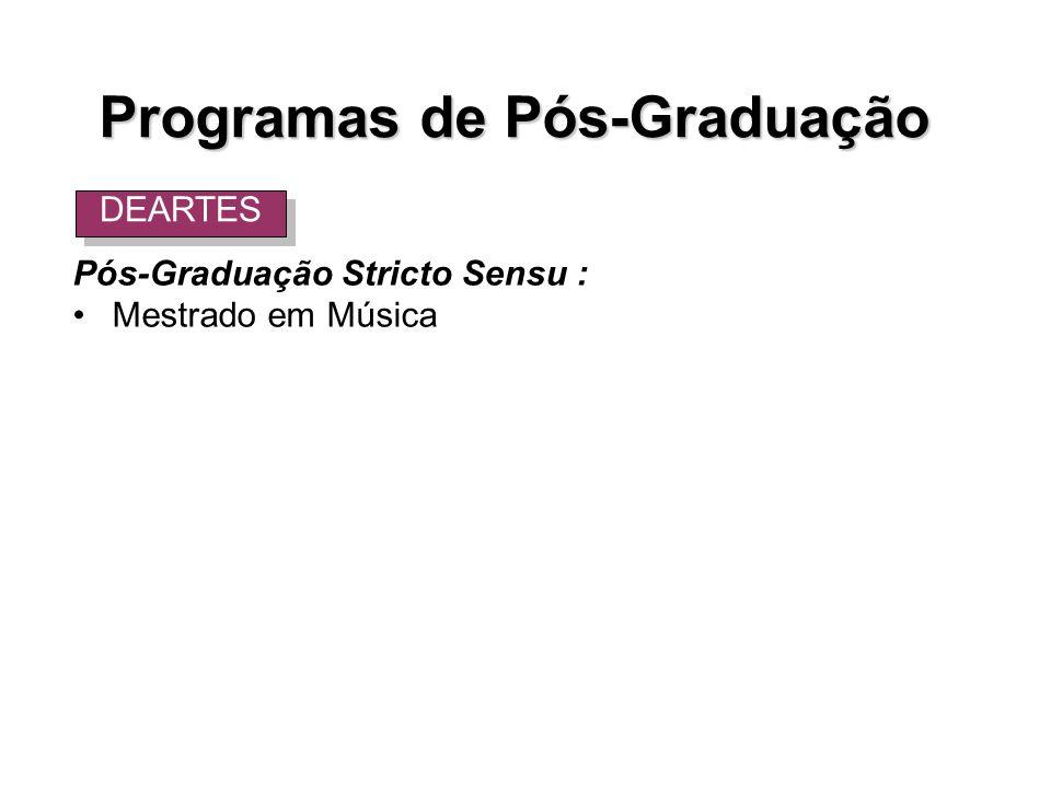 Pós-Graduação Stricto Sensu : Mestrado em Música Programas de Pós-Graduação DEARTES