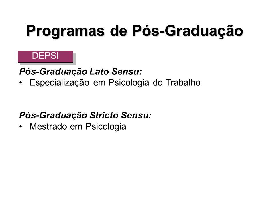 Pós-Graduação Lato Sensu: Especialização em Psicologia do Trabalho Pós-Graduação Stricto Sensu: Mestrado em Psicologia Programas de Pós-Graduação DEPS